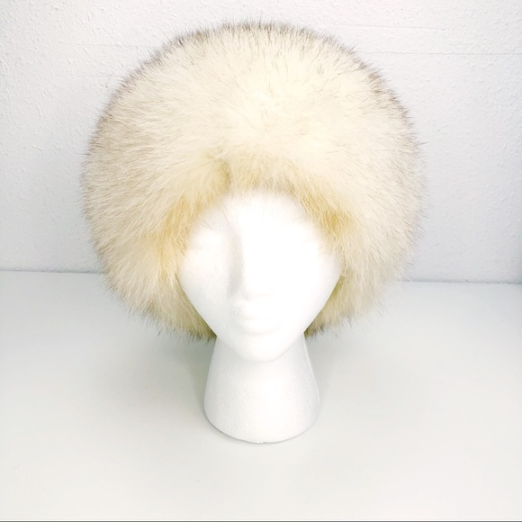 """Vintage Fox Fur Hat White With Brown tips 22"""" cir."""